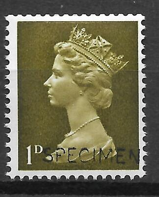 Sg 724s 1d Pre-decimal Machin with 'SPECIMEN' overprint - UNMOUNTED MINT