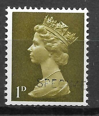 Sg 724s 1d Pre-decimal Machin with 'SPECIMEN' overprint - UNMOUNTED MINT/MNH