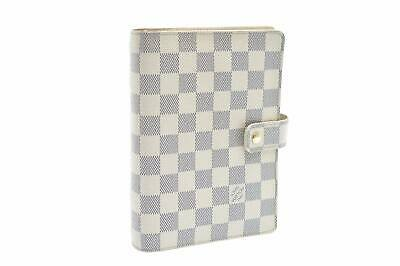LOUIS VUITTON Damier Azur Agenda MM Day Planner Cover R20707 LV Auth 7400