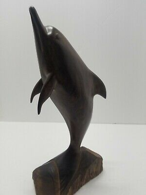 """Dolphin Vintage Ironwood Hand Carved 12"""""""