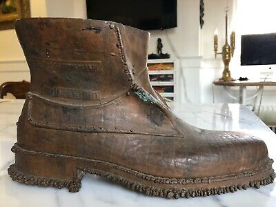 Vintage Electromould Mens Workboot Shoe Advertizing Trade Sign Planter Urn