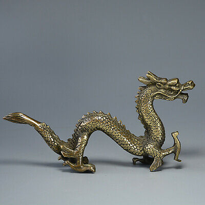 Collect QIanlong Years Old Bronze Carved Myth Dragon Moral Exorcism Decor Statue