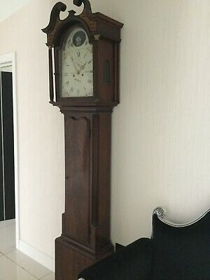 Antique Mahogany Long Case Grandfather Clock Boat Moves Clock Chimes