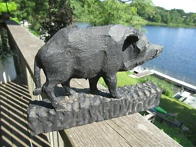 Antique Primitive Americana Carved Wood Boar In Great Condition Carved Pig