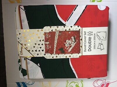 Primark Disney Mickey And Minnie Mouse Christmas Double Duvet Cover Set NEW