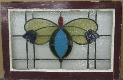 "OLD ENGLISH LEADED STAINED GLASS WINDOW TRANSOM Stunning Abstract 32"" x 21.25"""