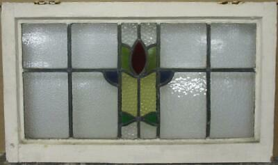 "MIDSIZE OLD ENGLISH LEADED STAINED GLASS WINDOW Pretty Abstract 28"" x 16.5"""