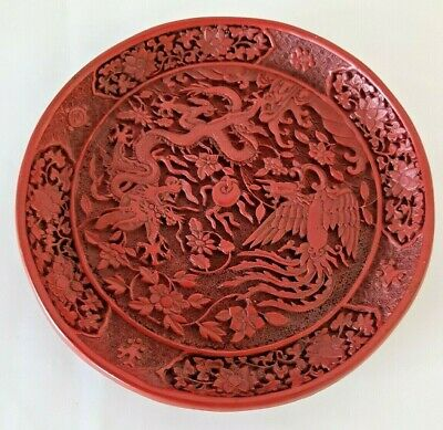 """Antique CHINESE Intricate Carved Cinnabar PLATE Red Lacquer DRAGON 8"""" Hallmarked"""