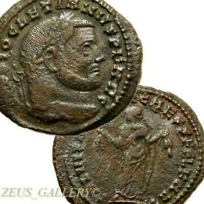 DIOCLETIAN / Goddess CARTHAGE mint Rare Large Ancient Roman Empire Follis coin