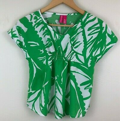 Lilly Pulitzer Girls Size M 7-8 Top Shirt Green White Pom Poms Gathered Summer