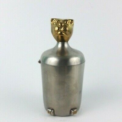Vintage Cat Art Deco Metal Pet Urn Gold Silver