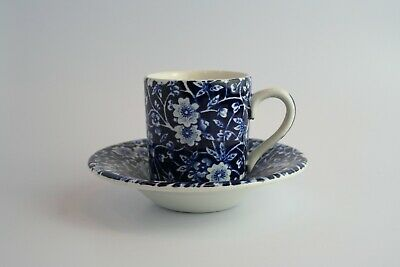 Calico Burleigh Blue Espresso Cup And Saucer Beautiful! Free Shipping!
