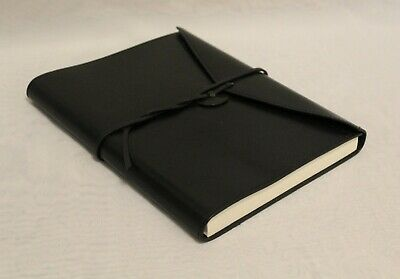Black Leather Diary Journal Notebook Cover with Tie Closure Free Shipping