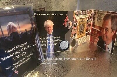 Limited Edition Boris + Farage Brexit Card + New Uncirculated Brexit Coin 2020
