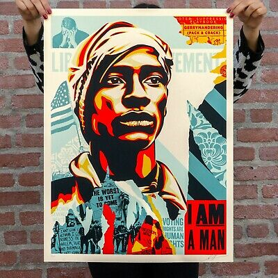 """Obey """"Voting Rights Are Human Rights"""" Screen Print Numbered & Signed"""