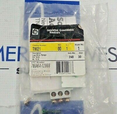 Ge Tn121 Insulated Groundable Neutrals Lug Wire Range Cu 14-8 Al 12-8