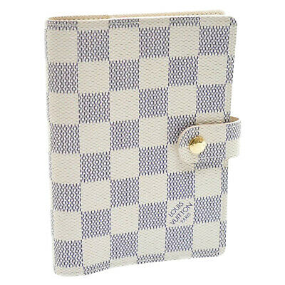 LOUIS VUITTON Damier Azur Agenda PM Day Planner Cover R20706 LV Auth 11505