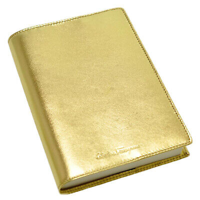 Salvatore Ferragamo Note Memo Pad Cover Leather Gold Auth 5305