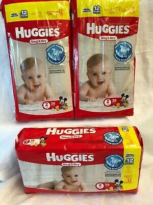 Huggies Snug & Dry Diapers Size #2 12-18 Lbs Lot of 3 - 38 Count Free Shipping