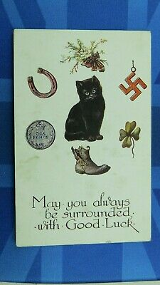 Comic  Postcard 1920s Good Luck Charms Swastika Lucky Black Cat Boot Horse Shoe