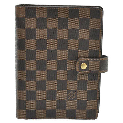 LOUIS VUITTON Damier Ebene Agenda MM Day Planner Cover R20701 LV Auth 12549