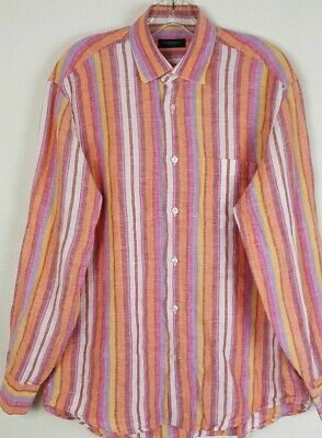 Canali Mens Sz M Striped Linen Long Sleeve Button Up Shirt Made In Italy