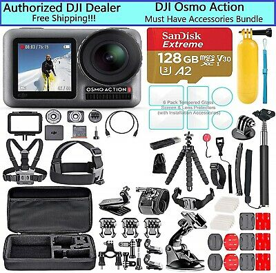 DJI OSMO Action Camera 55 item Must Have Accessories Bundle! 128GB, Case, Mounts