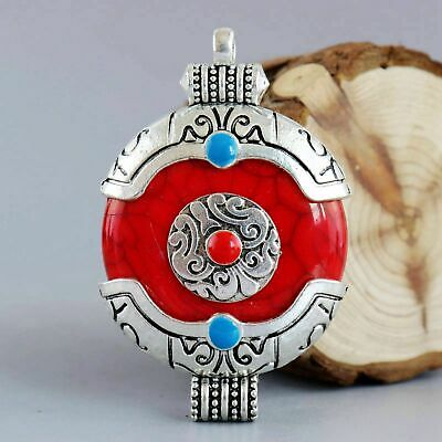 Collect Old Tibet Silver Carve China Tibetan Culture Pattern Auspicious Pendant