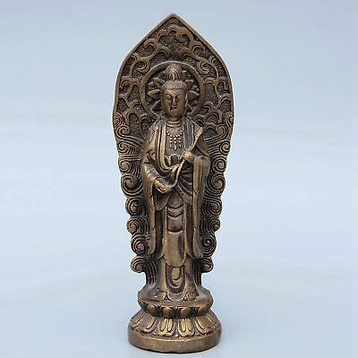 Collect Handwork Old Bronze Carve Kwan-Yin Auspicious Buddhism Delicate Statue