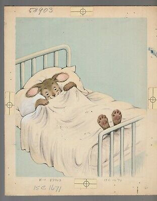 "GET WELL SOON Sick Rabbit in Hospital Bed 2pcs 8x10"" Greeting Card Art #C1671"