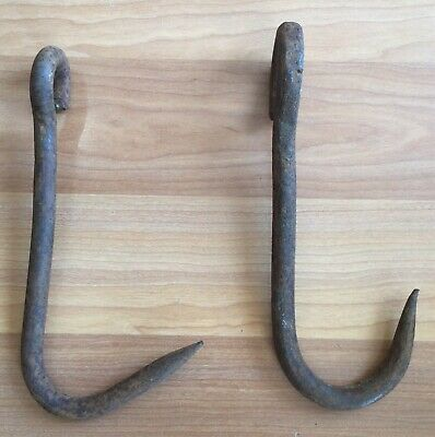 Old Vtg Antique Large Iron Hook Hanger Barn Farm Metal Hardware Pair Set Of 2
