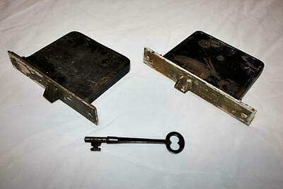 Pair of Working Brass Faced Mortise Door Locks Unbranded-No Keys