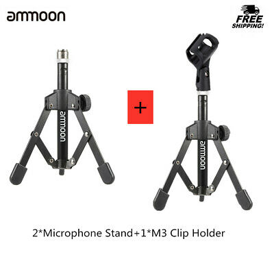 Mini Desktop Microphone Stand Tabletop Mic Tripod Holder with MC3 Mic Clip R3X7