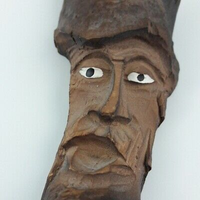 "Vintage Carved Wood Spirit Face Hanging Wall Folk Art 8.5"" tall"