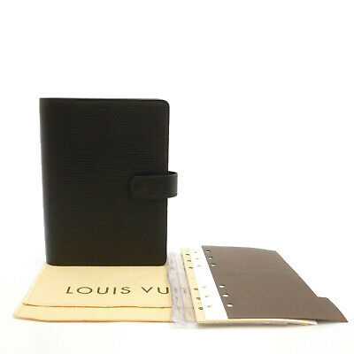 Auth LOUIS VUITTON Epi Agenda MM Day Planner Cover Black Leather R20202 #S402064
