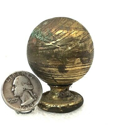 "Antique 1 5/8"" BRASS BALL FINIAL Clock reclaimed salvage furniture f/s"