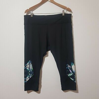 City Chic Plus Size S / 16 Black Active Wear 3/4 Leggings