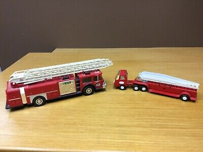 HESS 1986 Toy Fire Truck Red w/Ladder & Vintage Tonka Metal Fire Truck