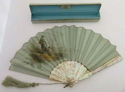 Antique French Hand Fan - Mother Of Pear l- Duvelleroy Paris