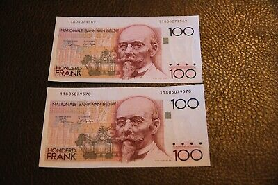 Two Consecutive Belgium 100 Franc Note P-142   UNCIRCULATED