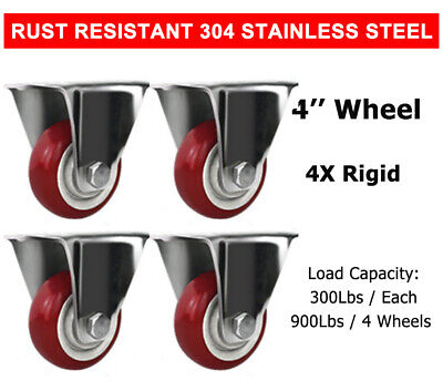 4 Pcs 4'' Stainless Steel Rigid Caster Wheel Red Poly Casters Wheels