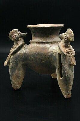 Pre-Columbian, Panama, Chiriqui Pottery Tripod Rattle Vessel With Bird Effigy