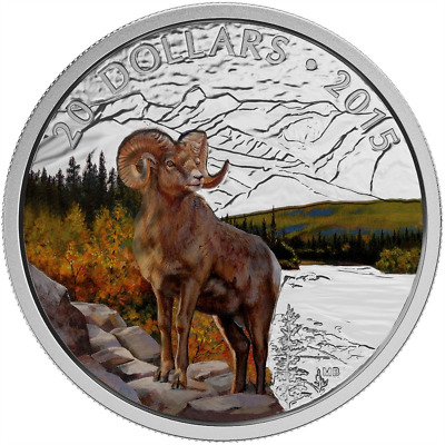 CANADA 2015 SILVER COIN MAJESTIC ANIMALS BIGHORN SHEEP - COLORED - 1 oz 9999 Ag