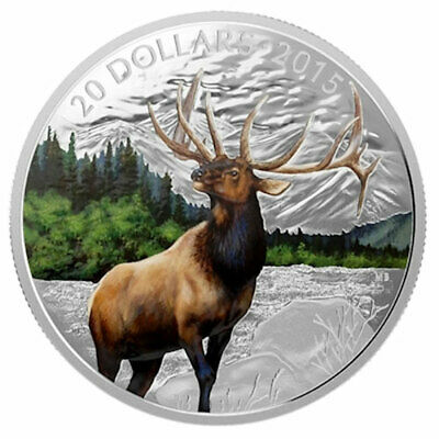 CANADA 2015 SILVER COIN MAJESTIC ANIMALS ELK - COLORED - 1 oz 9999 Ag Proof