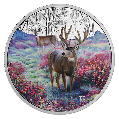 CANADA 2015 SILVER COIN MAJESTIC ANIMALS - DEER - COLORED - 1 oz 9999 Ag Proof