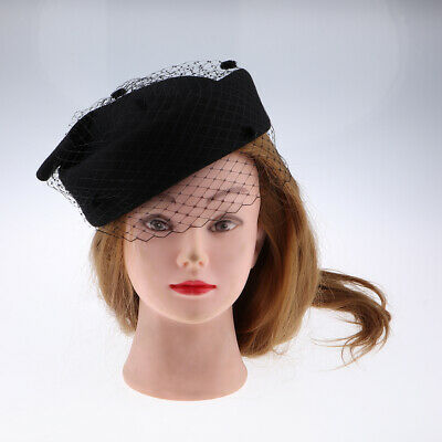 Antique Wool Pillbox Hat with Bow Veil Fascinator Wedding Party Headpiece Black