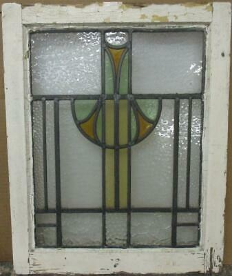 "OLD ENGLISH LEADED STAINED GLASS WINDOW Tall Geometric Design 17.5"" x 21.75"""
