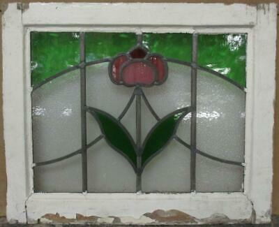 "OLD ENGLISH LEADED STAINED GLASS WINDOW Stunning Floral Sweep 20.5"" x 17"""