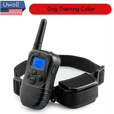 Waterproof Dog Training Shock Bark Collar w/ Remote Rechargeable Hunting Trainer