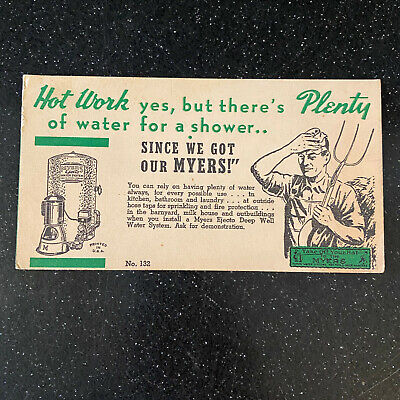 Myers Pump Ejecto Deep Well Water Ashland Ohio Vintage Advertising Blotter